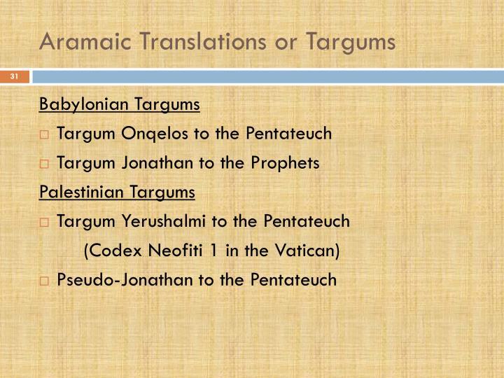 Aramaic Translations or Targums