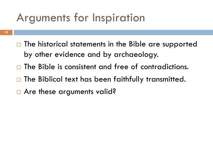 Arguments for Inspiration