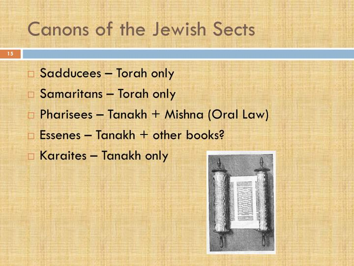 Canons of the Jewish Sects