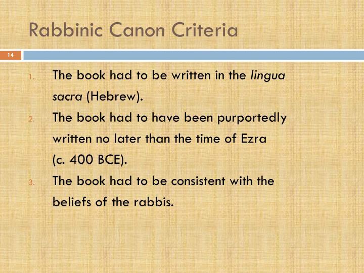 Rabbinic Canon Criteria