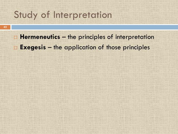Study of Interpretation