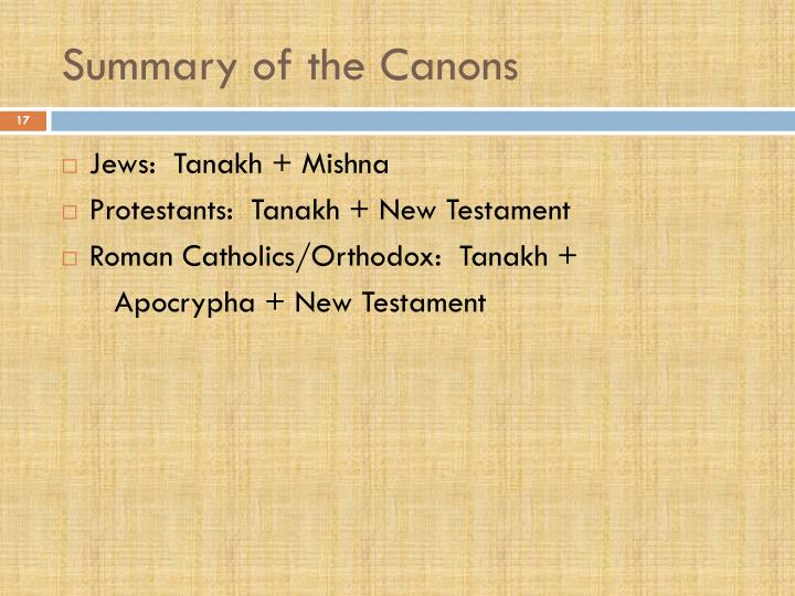 Summary of the Canons