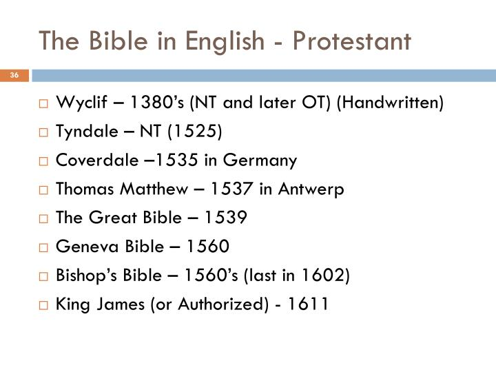 The Bible in English - Protestant