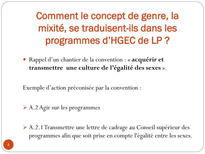 Comment le concept de genre, la mixité, se traduisent-ils dans les programmes d'HGEC de LP ?