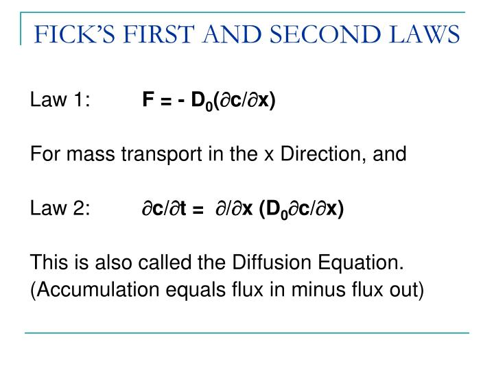 FICK'S FIRST AND SECOND LAWS