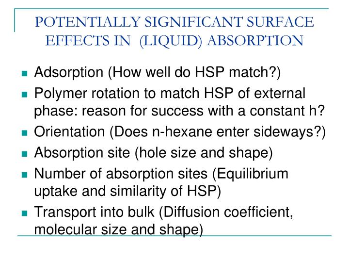 POTENTIALLY SIGNIFICANT SURFACE EFFECTS IN  (LIQUID) ABSORPTION