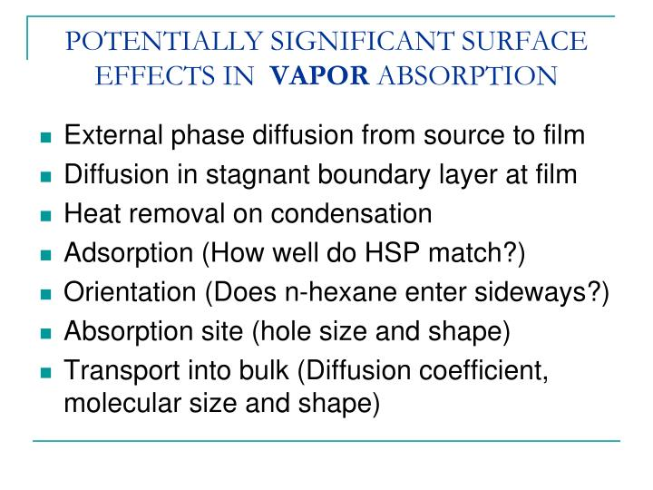 POTENTIALLY SIGNIFICANT SURFACE EFFECTS IN