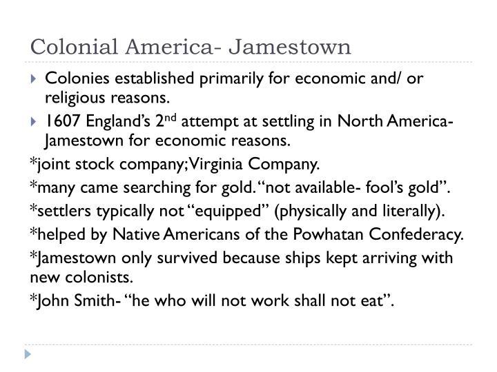 Colonial America- Jamestown