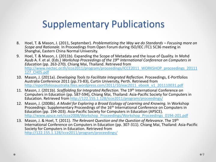 Supplementary Publications