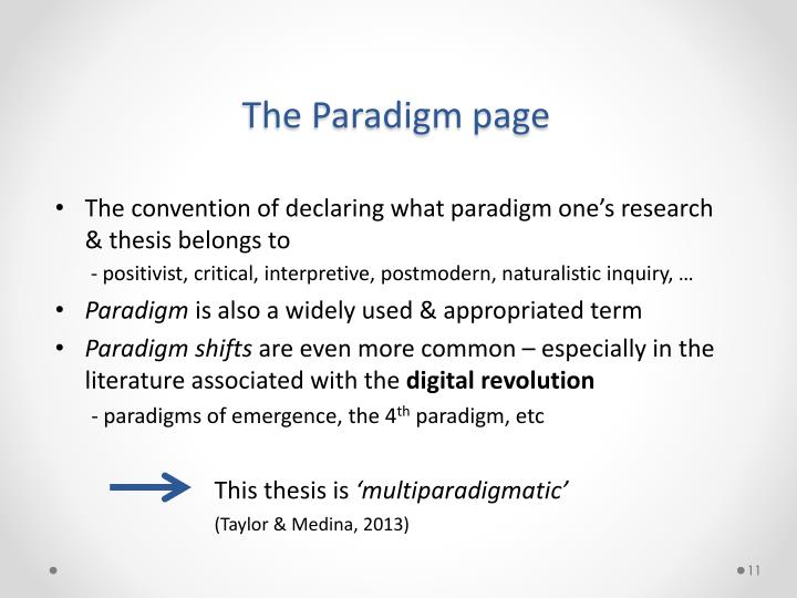 The Paradigm page