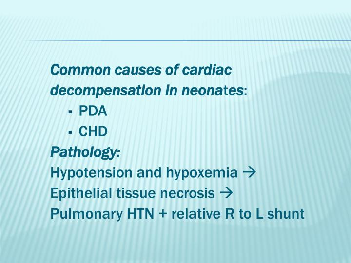 Common causes of cardiac