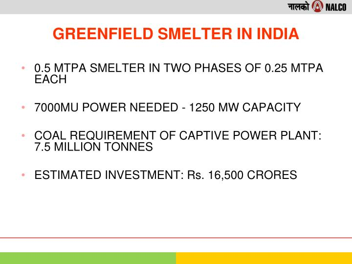0.5 MTPA SMELTER IN TWO PHASES OF 0.25 MTPA EACH