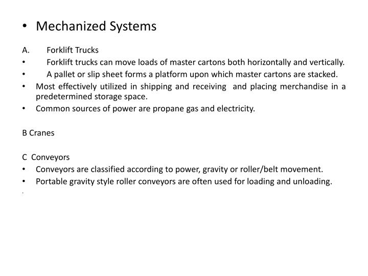 Mechanized Systems