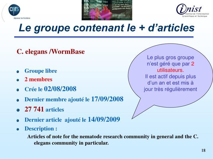 Le groupe contenant le + d'articles
