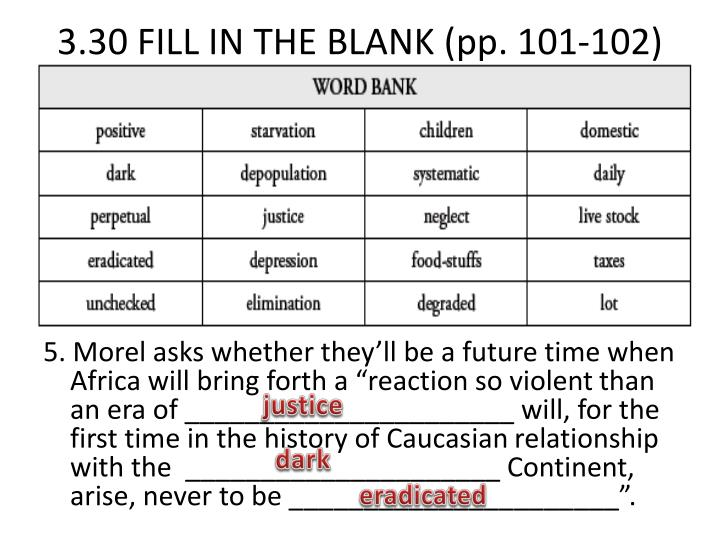 3.30 FILL IN THE BLANK (pp. 101-102)