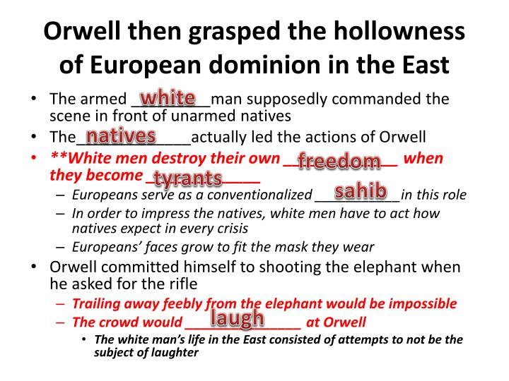 Orwell then grasped the hollowness of European dominion in the East