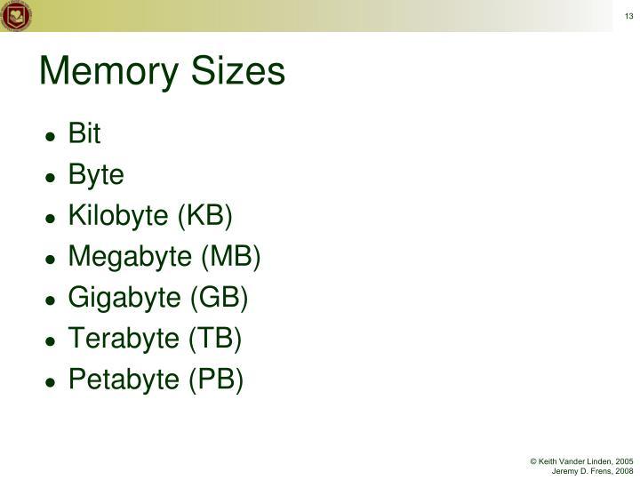 Memory Sizes