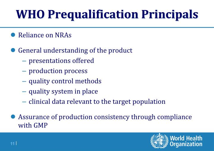 WHO Prequalification Principals