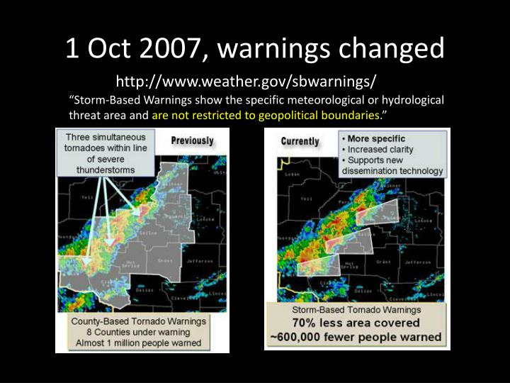 1 Oct 2007, warnings changed