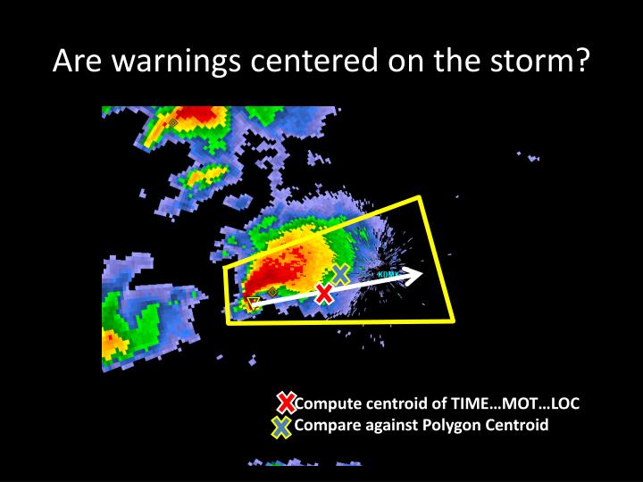 Are warnings centered on the storm?