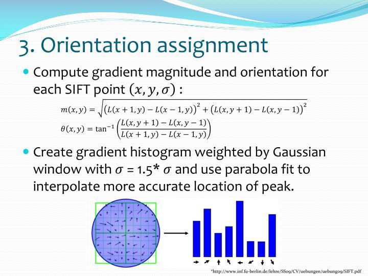 3. Orientation assignment