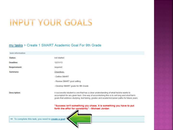 Input your goals
