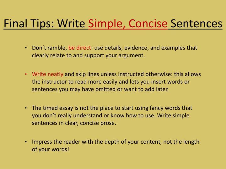 Final Tips: Write