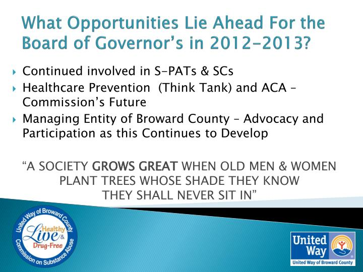 What Opportunities Lie Ahead For the Board of Governor's in 2012-2013?