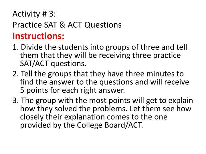 Activity # 3: