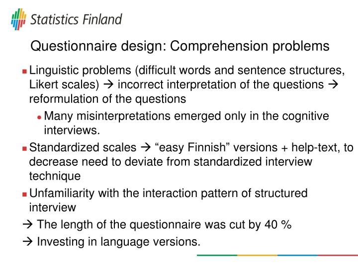 Questionnaire design: Comprehension problems