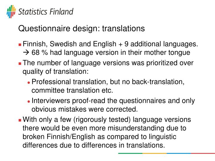 Questionnaire design: translations