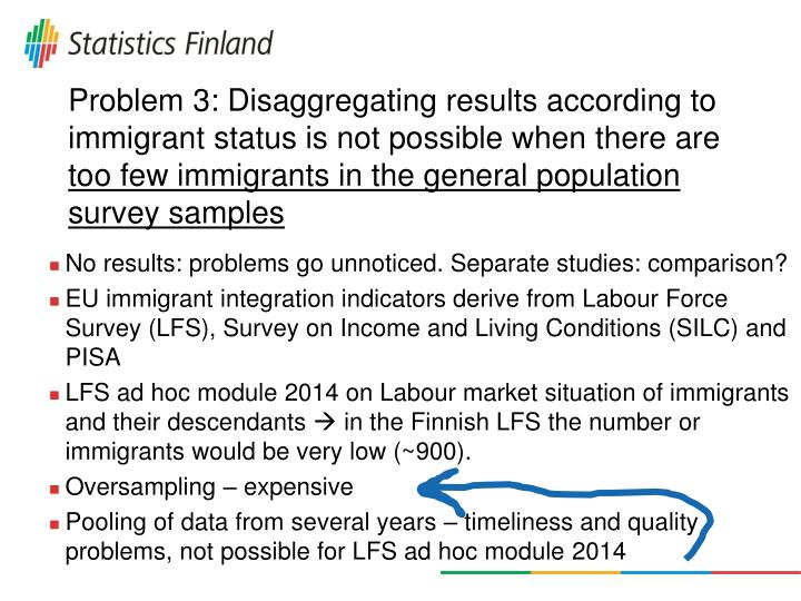 Problem 3: Disaggregating results according to immigrant status is not possible when there are