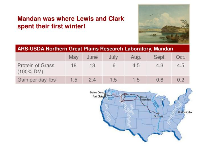 Mandan was where Lewis and Clark