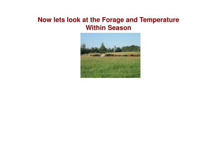 Now lets look at the Forage and Temperature