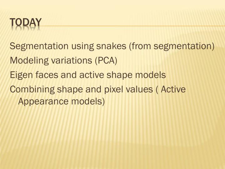 Segmentation using snakes (from segmentation)