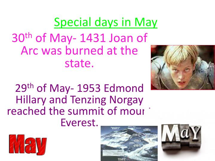 Special days in May