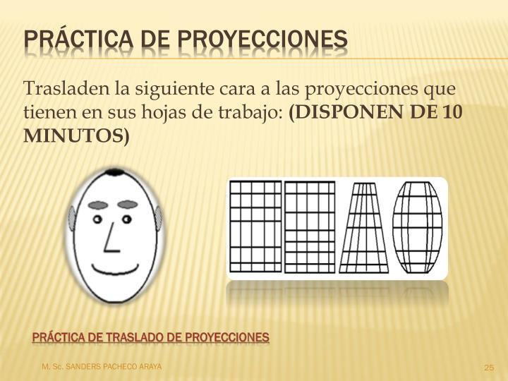 Trasladen la siguiente cara a las proyecciones que tienen en sus hojas de trabajo: