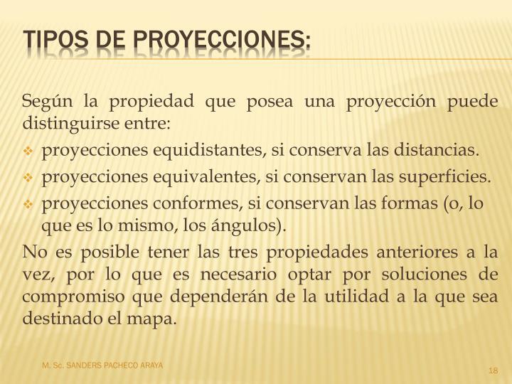 Según la propiedad que posea una proyección puede distinguirse entre: