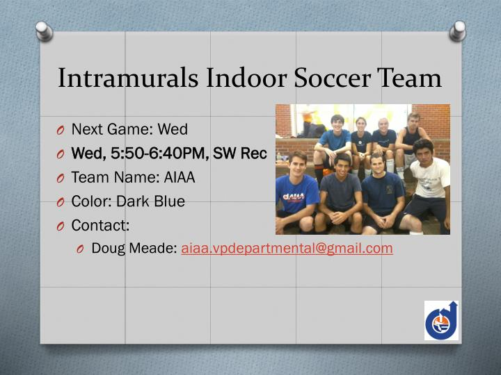 Intramurals Indoor Soccer Team