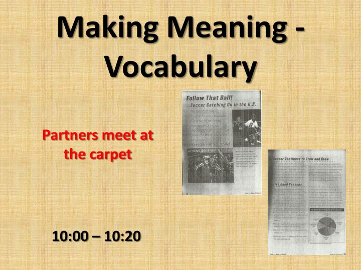 Making Meaning - Vocabulary