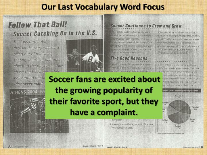 Our Last Vocabulary Word Focus