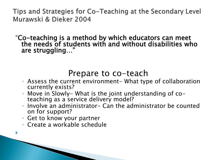 Tips and Strategies for Co-Teaching at the Secondary Level