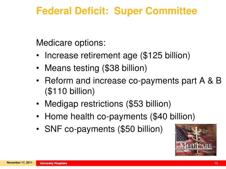 Federal Deficit:  Super Committee