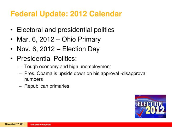 Federal Update: 2012 Calendar