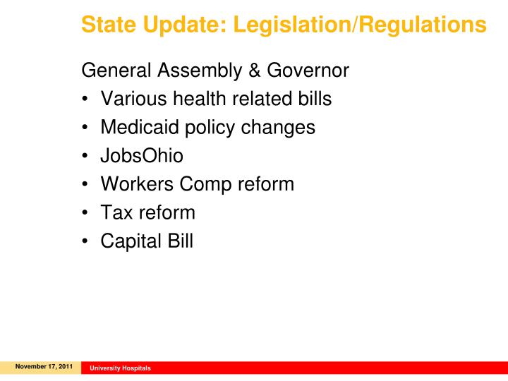 State Update: Legislation/Regulations