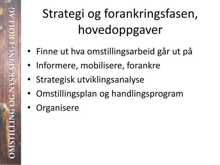 Strategi og forankringsfasen, hovedoppgaver