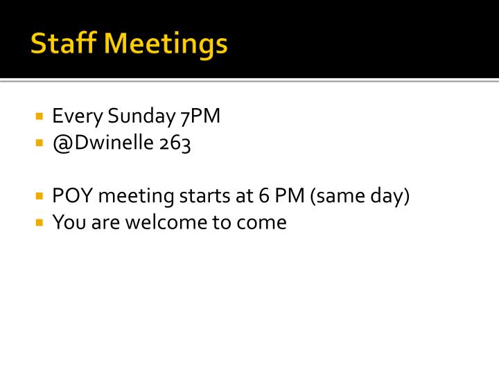 Staff Meetings