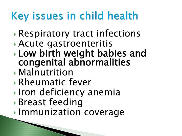 Key issues in child health