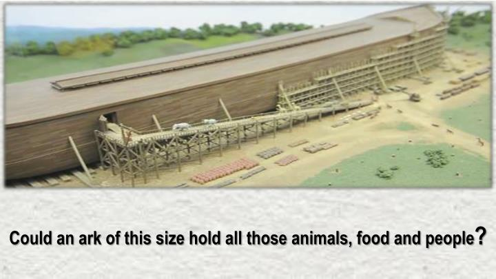 Could an ark of this size hold all those animals, food and people