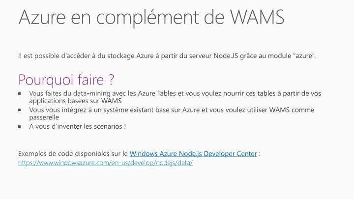 Azure en complément de WAMS
